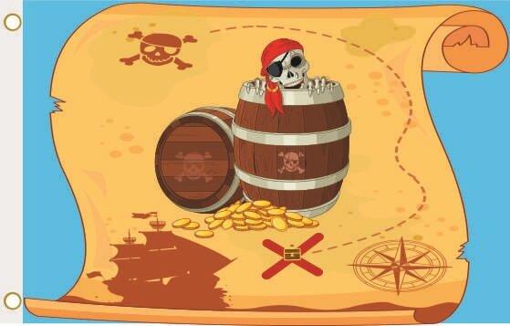 Fahne Piraten Fass mit Schatzkarte 90 x 150 cm
