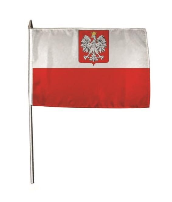 Stockflagge Polen mit Wappen 30 x 45 cm