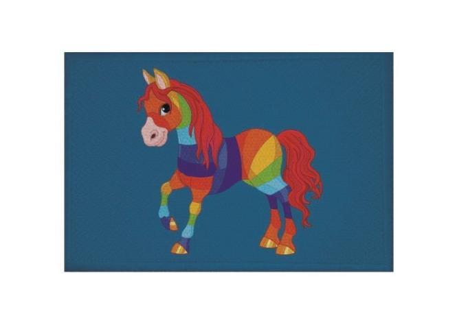 Aufnäher Patch Regenbogen Pferd blau 9 x 6 cm