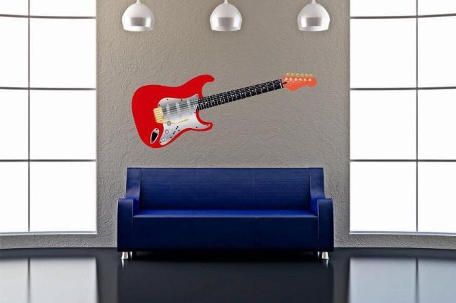 Wandtattoo Gitarre rot