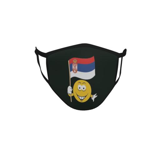 Gesichtsmaske Behelfsmaske Mundschutz schwarz Serbien Smily