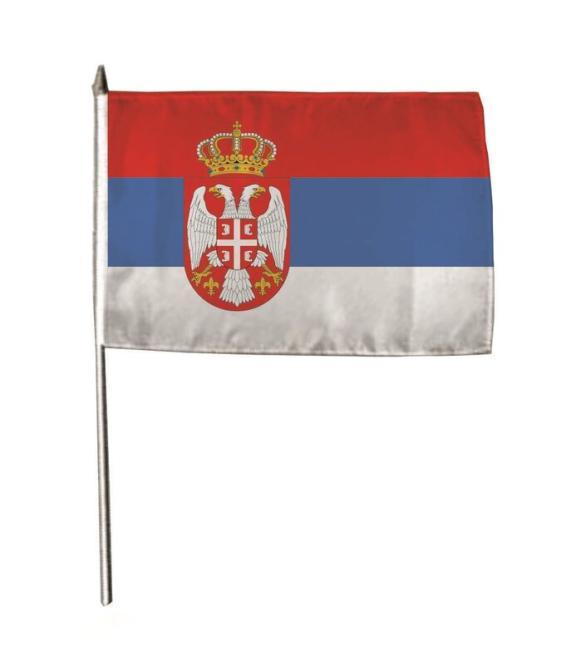 Stockflagge Serbien mit Wappen 30 x 45 cm