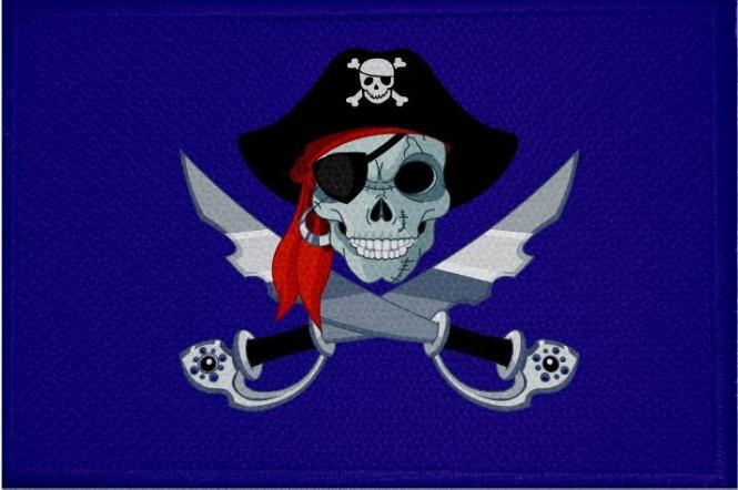 Aufnäher Patch Pirat mit Säbel und Mütze blau 9 x 6 cm