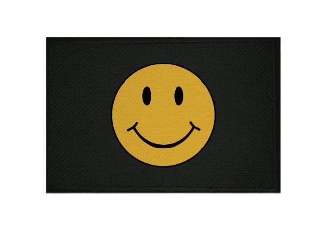 Aufnäher Smily Smiley schwarz Patch 9 x 6 cm