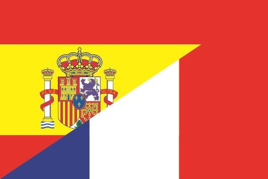 Flagge Spanien - Frankreich