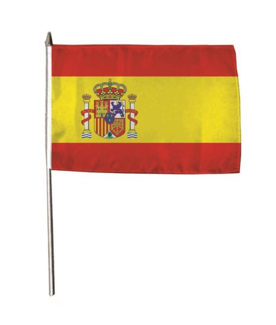 Stockflagge Spanien mit Wappen 30 x 45 cm