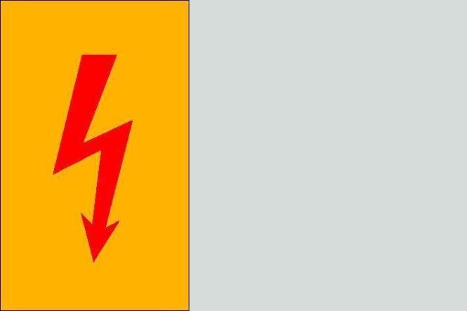 Spannungszeichen (Roter Blitz) 7,4 x 14,8 cm