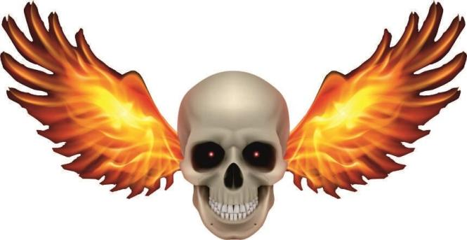 Aufkleber Pirat Totenkopf mit Feuerflügel