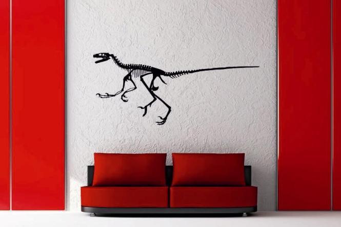 Wandtattoo Velociraptor Skelett