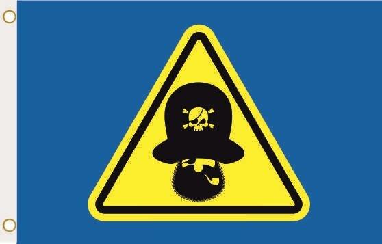Fahne Vorsicht Pirat blau 90 x 150 cm