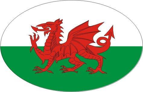 Aufkleber oval Wales 10 x 6,5 cm