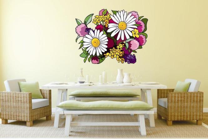 wandtattoo wildblumen gesteck. Black Bedroom Furniture Sets. Home Design Ideas