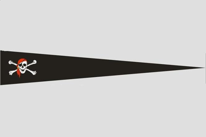 Wimpel Pirat mit rotem Kopftuch 140 x 27 cm