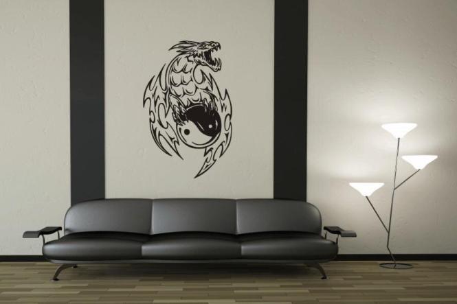Wandtattoo Yin Yang Drache Motiv Nr. 1