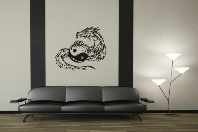 wandtattoo yin yang drache motiv nr 3. Black Bedroom Furniture Sets. Home Design Ideas