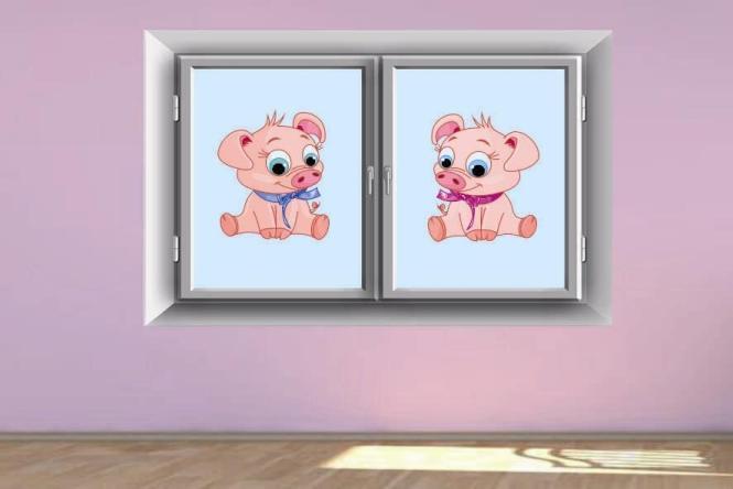Fenstertattoo Zwei Ferkel