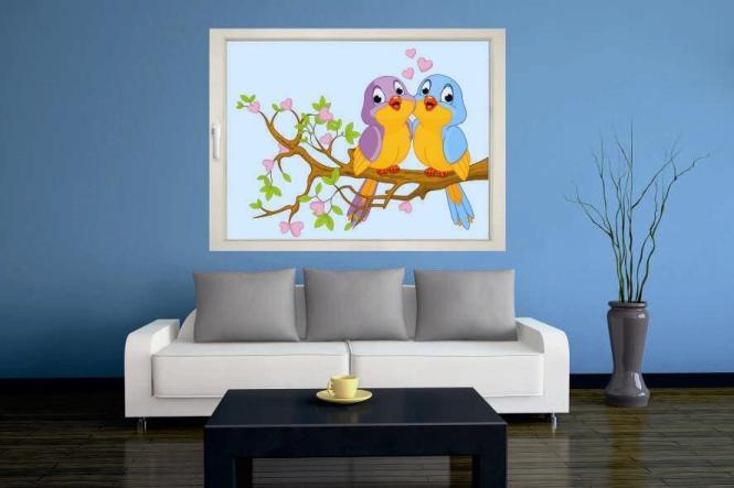 Fenstertattoo Zwei verliebte Vögel