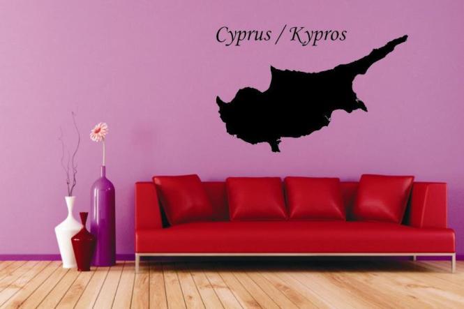 Wandtattoo Zypern Karte