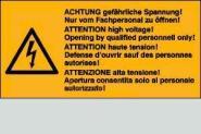 Achtung gefährliche Spannung! 3-sprachig 6,5 x 3,2 cm