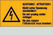 Achtung! Nicht u. Spannung ausstecken 3-sprachig 6,5 x 3,2 cm