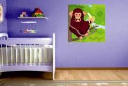 Wandbild Affe mit Banane im Baum