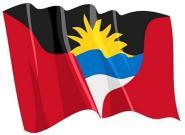 Aufkleber Flagge Antigua & Barbuda wehend 8,5 x 6 cm
