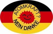 Aufkleber oval Deutschland Atomkraft - Nein Danke! 10 x 6,5 cm