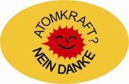 Aufkleber oval Atomkraft - Nein Danke! gelb 10 x 6,5 cm