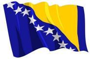 Aufkleber Flagge Bosnien-Herzegowina wehend 8,5 x 6 cm