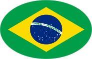 Aufkleber oval Brasilien 10 x 6,5 cm