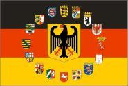 Fahne Deutschland Adler mit 16 Bundesländer Wappen 90 x 150 cm