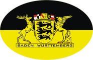 Aufkleber oval Baden-Württemberg mit großem Landesiegel 10 x 6,5 cm