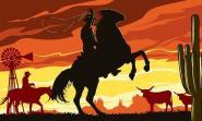 Fahne Cowboy auf Pferd 90 x 150 cm