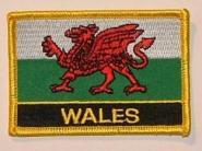 Aufnäher Wales mit Schrift