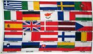 Fahne Europa 25 Länder mit Schrift 90 x 150 cm