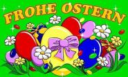 Fahne Frohe Ostern mit Ostereiern 90 x 150 cm