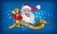 Fahne Frohe Weihnachten Weihnachtsmann blau 90 x 150 cm