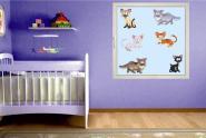 Fenstertattoo Funny Cats Set