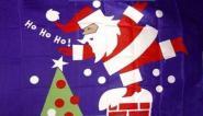 Fahne HO HO HO Weihnachtsmann 90 x 150 cm