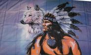 Fahne Indianer mit Wolf 90 x 150 cm