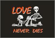 Fahne Love never dies 90 x 150 cm