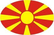 Aufkleber oval Mazedonien 10 x 6,5 cm