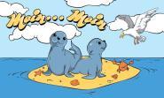 Fahne Robbenbabies auf Sandbank 90 x 150 cm
