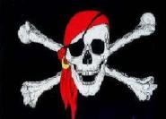 Fahne Pirat mit rotem Kopftuch 60 x 90 cm