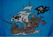 Fahne Piratenschiff blau 90 x 150 cm