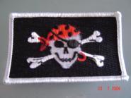 Aufnäher Pirat mit rotem Kopftuch und Ohring