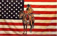 Fahne USA Indianer mit Pferd III 90 x 150 cm