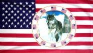 Fahne USA mit Wolf 90 x 150 cm