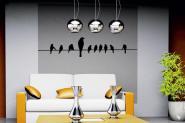 Wandtattoo Vögel auf Leitung schwarz | XXL