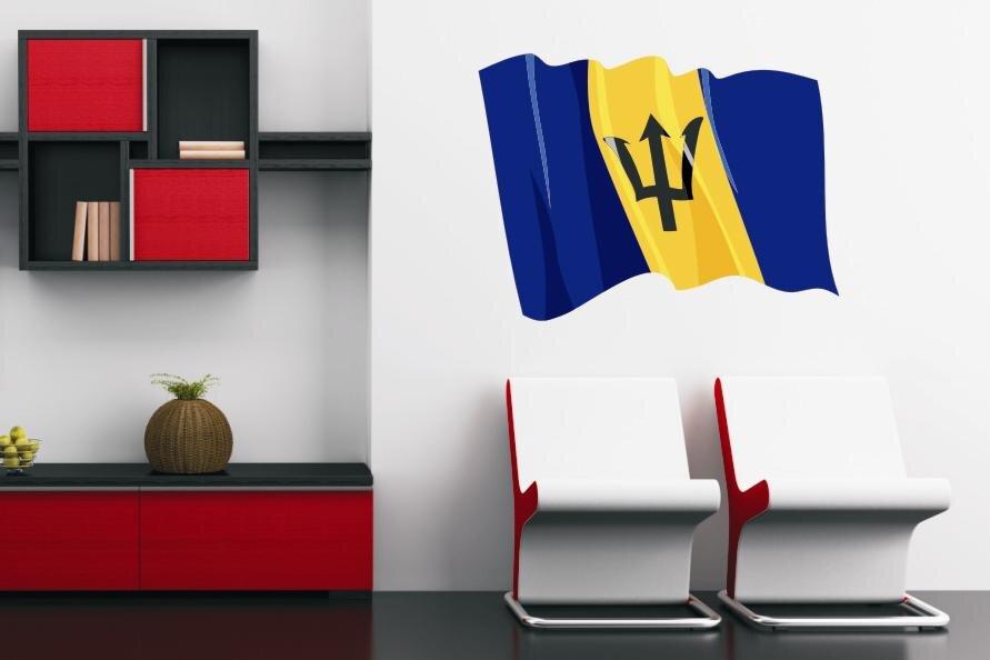 Tapeten Auf Rauputz Kleben : Wandtattoo Wehende Flagge Barbados